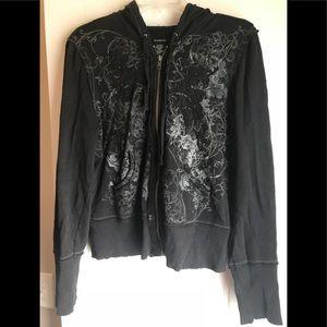 CK lightweight full zip black hoodie. XL.